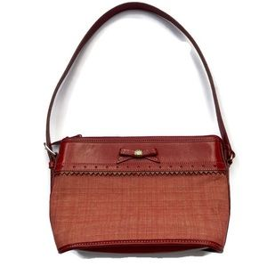 Brighton Red Leather And Canvas Purse With Bow